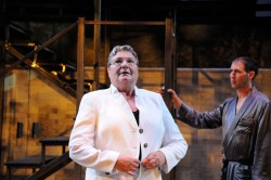 Anne Scurria as Julius Caesar and Mauro Hantman as Calpurnius Photo: Mark Turek