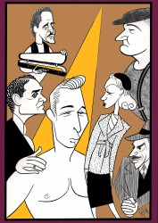 "Danny Burstein and the cast of the 2012 Production of ""Golden Boy"". Doodle by Ken Fallin"